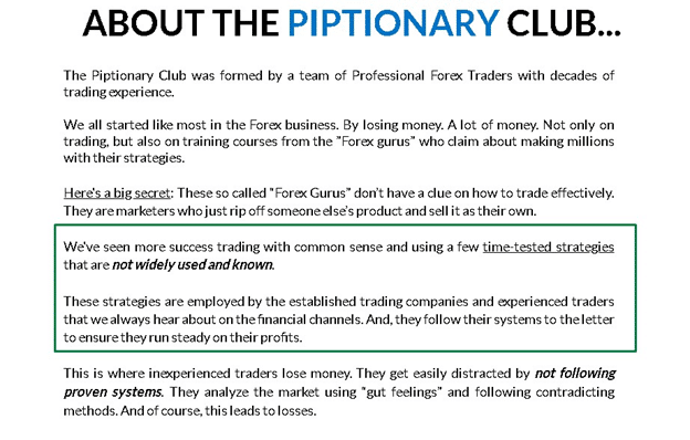 Piptionary Club Trading Strategy