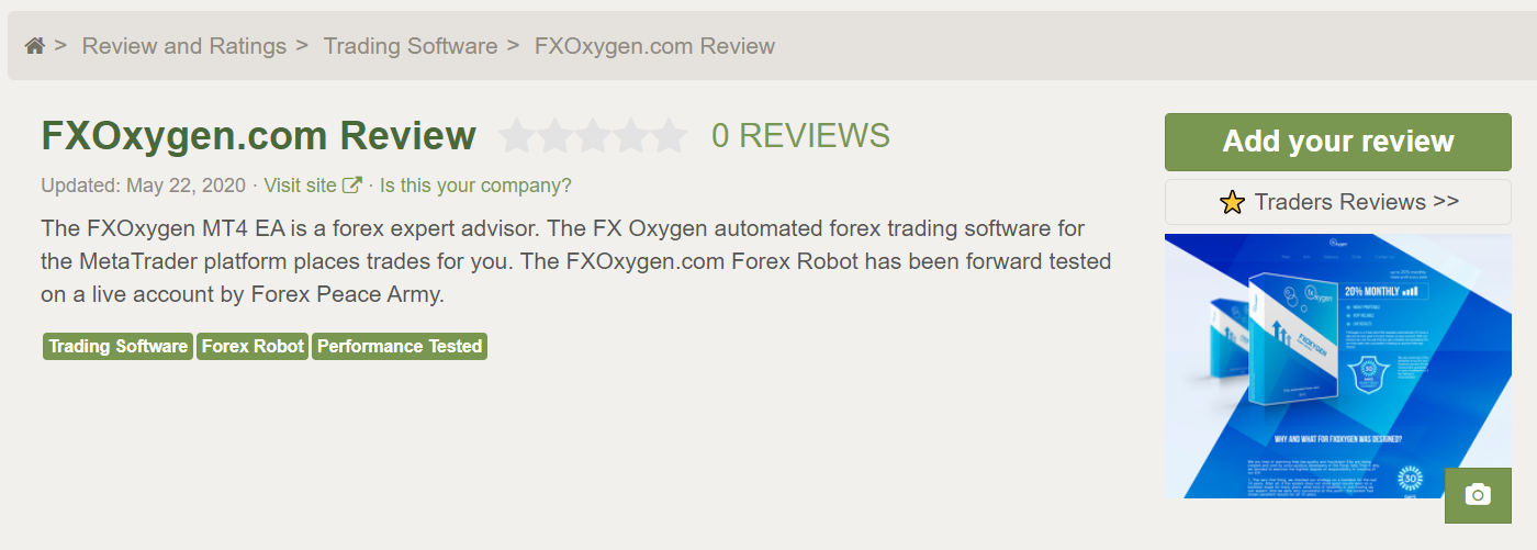FX Oxygen Testimonials and mentions