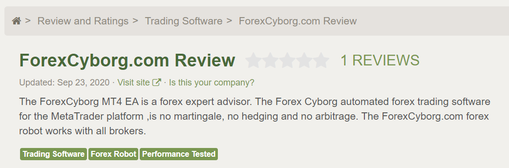 Forex Cyborg Robot review