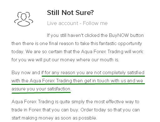 Aqua Forex Trading No Money Back Guarantee