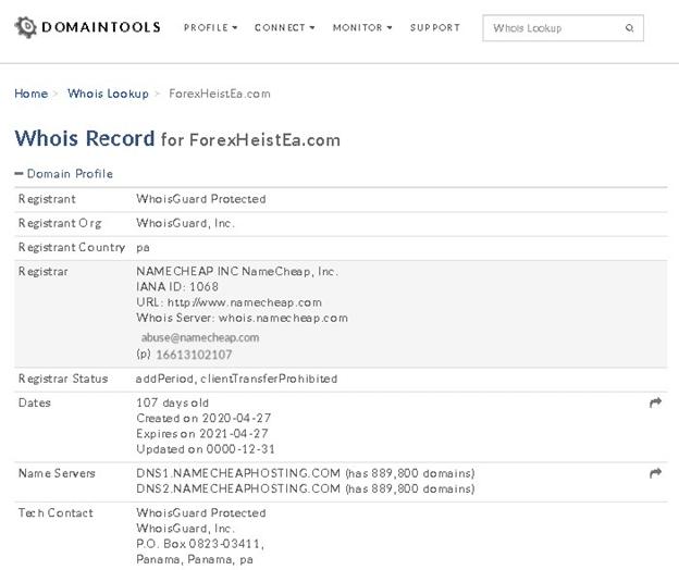 Forex Heist EA domain