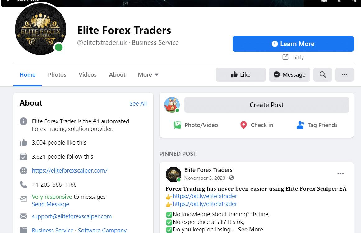 Elite Forex Scalper Facebook page