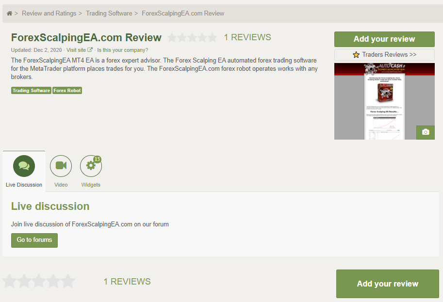 Forex Scalping EA customer reviews