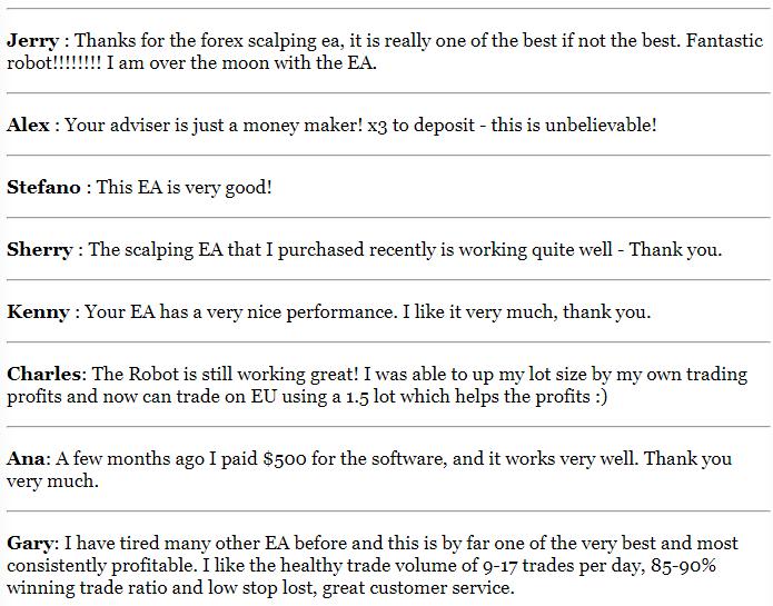 Forex Scalping EA Testimonials