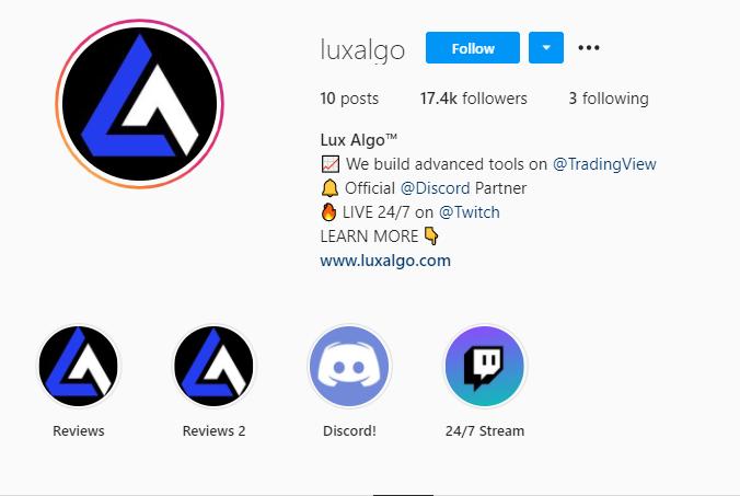 Lux Algo - Instagram page