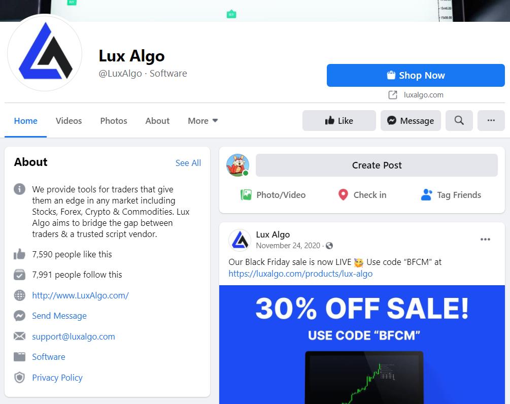 Lux Algo Facebook page