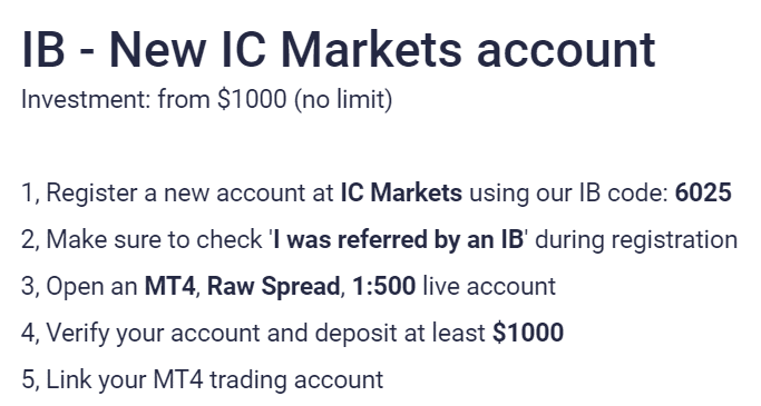 NCM Signals. We have to register an account on IC Markets with their IB code.