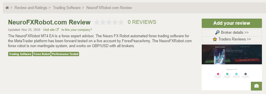 Neuro FX Robot customer reviews