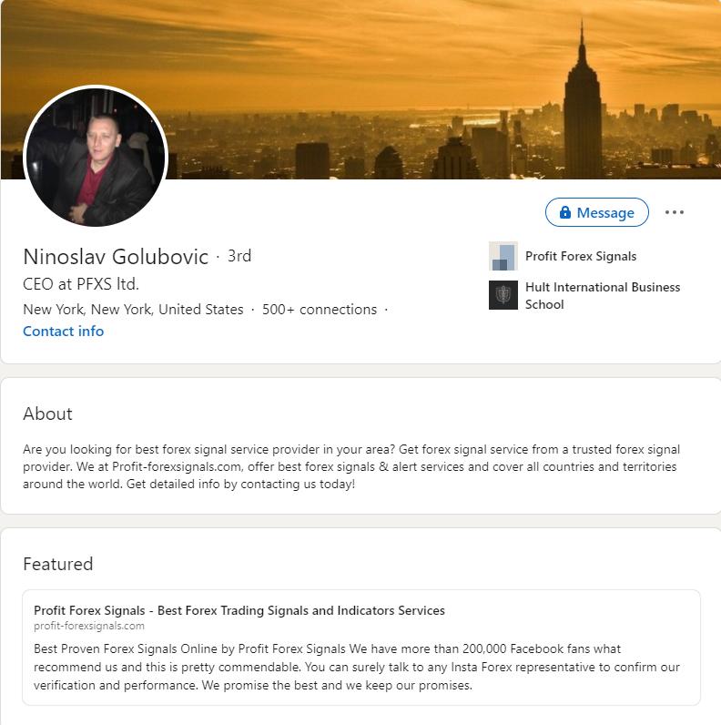 Profit Forex Signals LinkedIn profile