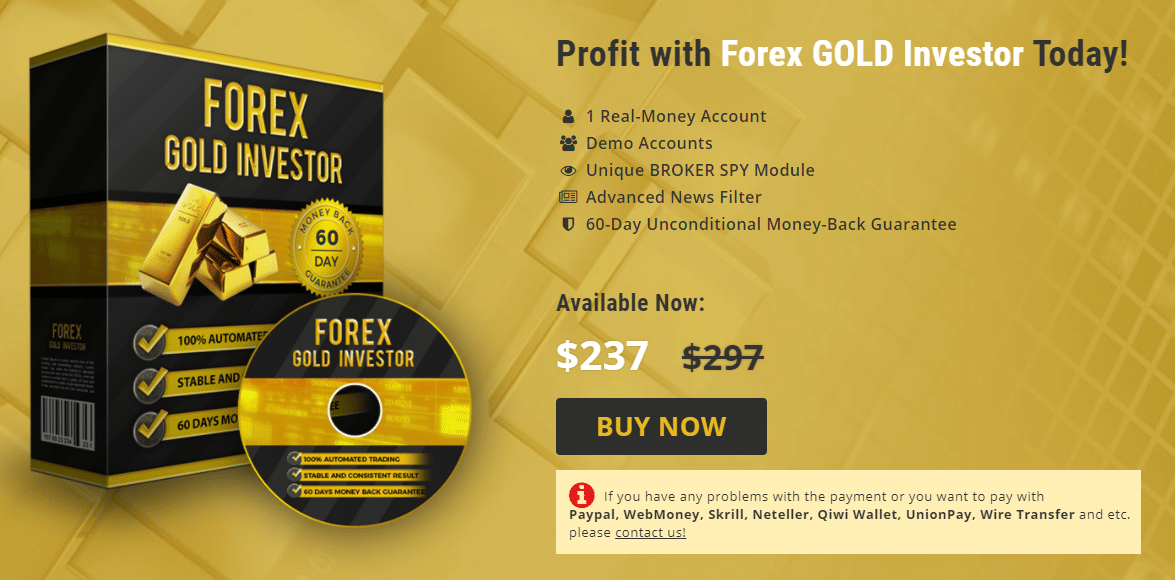 A Forex Gold Investor package costs $237 instead of $297.