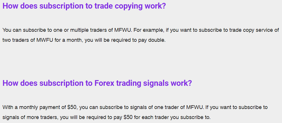 MFWU. how does subscription to trade copying work