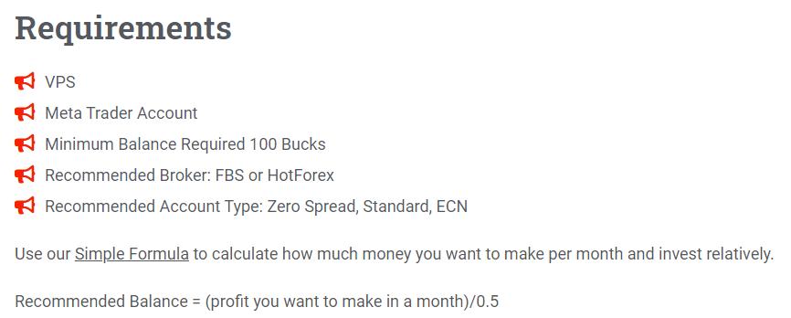 Unbeatable EA requirements