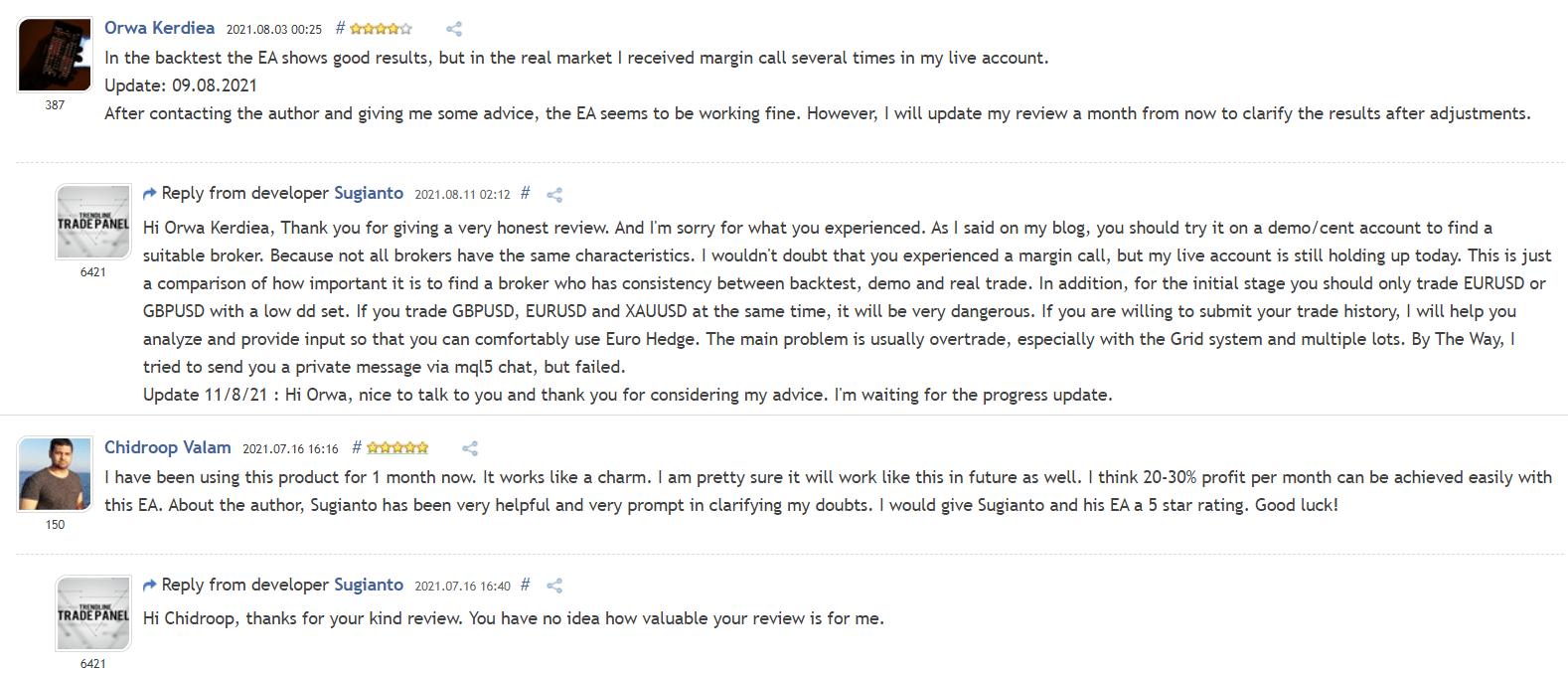User reviews for Euro Hedge on MQL5.