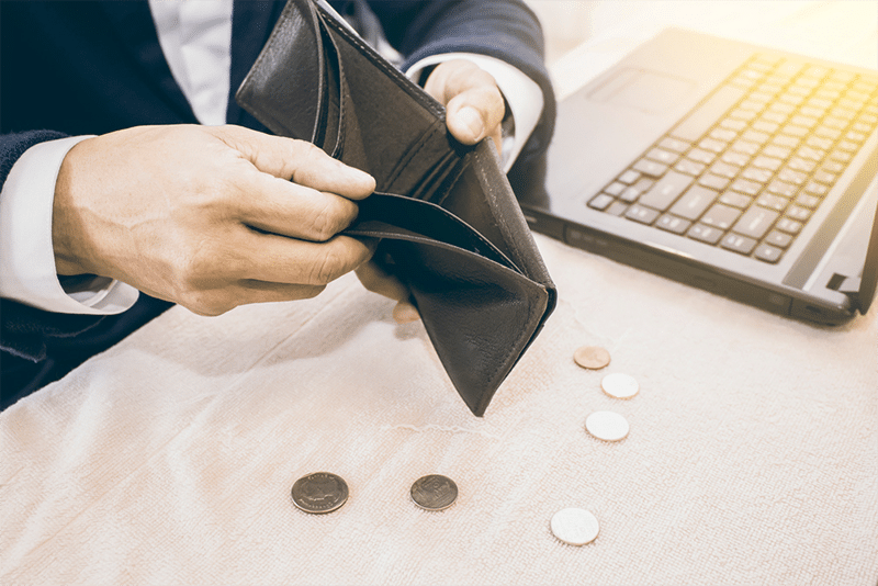 stock picture wallet without money