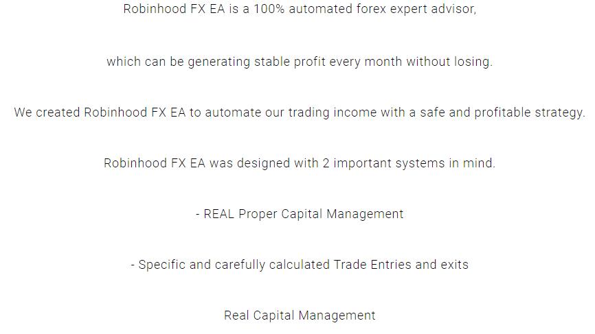 Features of Robinhood FX EA.