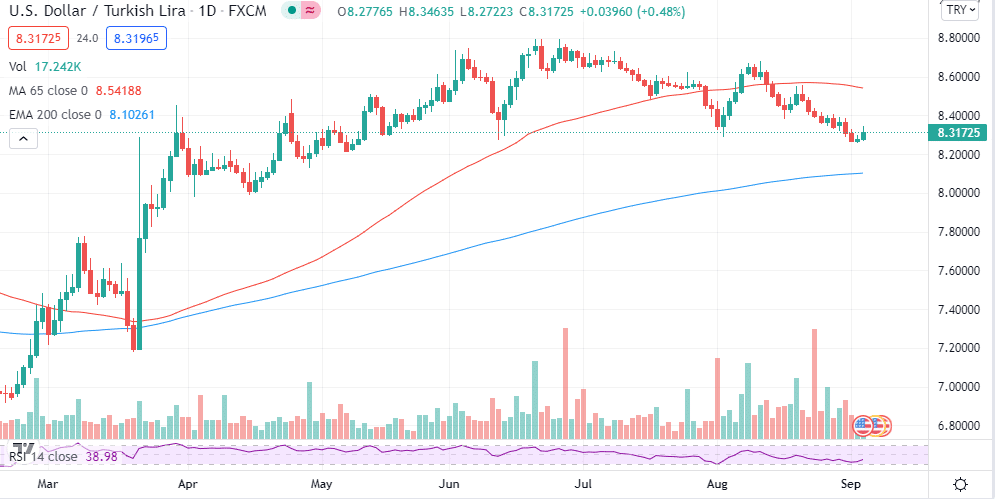 Chart showing USDTRY big price moves